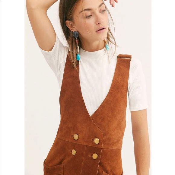 100% satisfaction release info on new release Free People Leather Canyonland Suede jumper dress